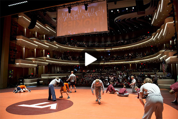 Video: Virginia Tech wrestling in the Moss Arts Center