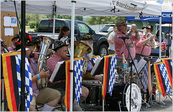 A polka band performed during the Summer Beer Festival at Virginia Tech