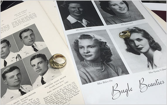 "William Beach '43 and his wife, Norma Vollmer Beach, a ""Bugle Beauty"""