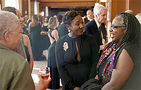 Menah Pratt-Clarke (right), Virginia Tech's vice president for strategic affairs and vice provost for inclusion and diversity, at the 2016 Black Alumni Reunion